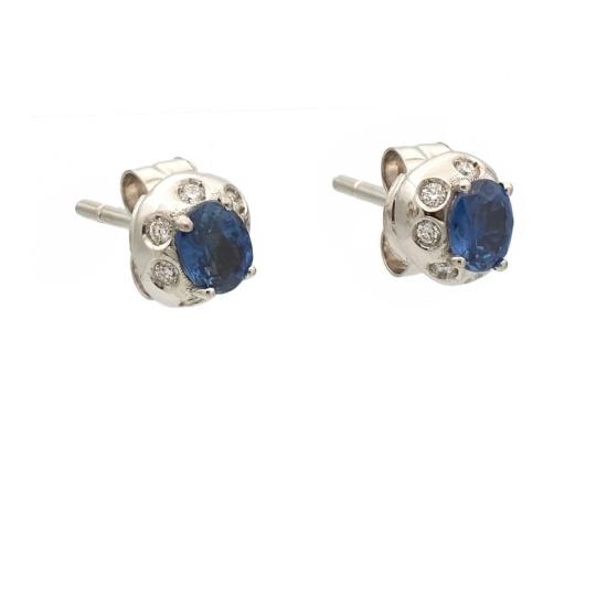 Pendientes de oro blanco con diamantes y zafiro - 0987