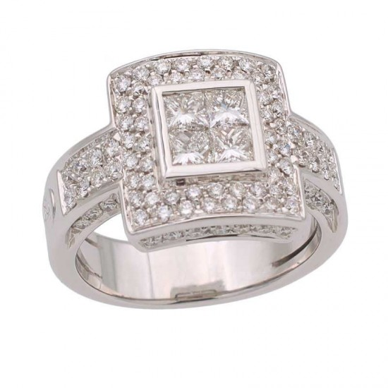 Sortija cuadrada de diamantes - 2