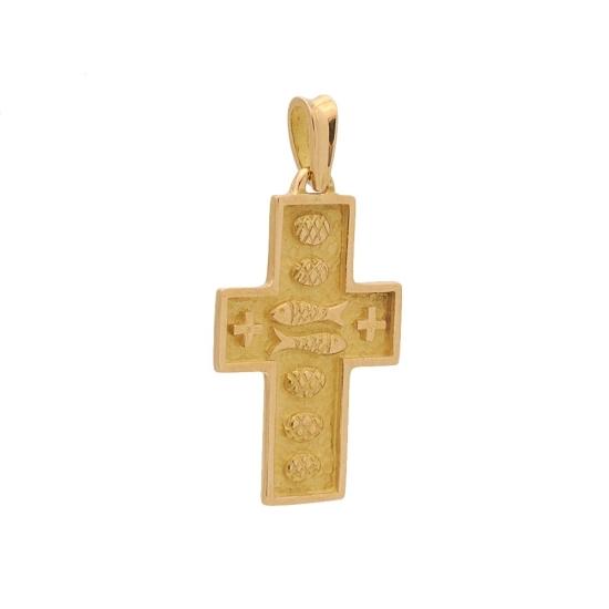 Cruz de oro amarillo con panes y peces - 0363