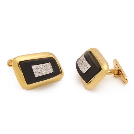 Gemelos de oro, ónix negro y diamantes - 3205