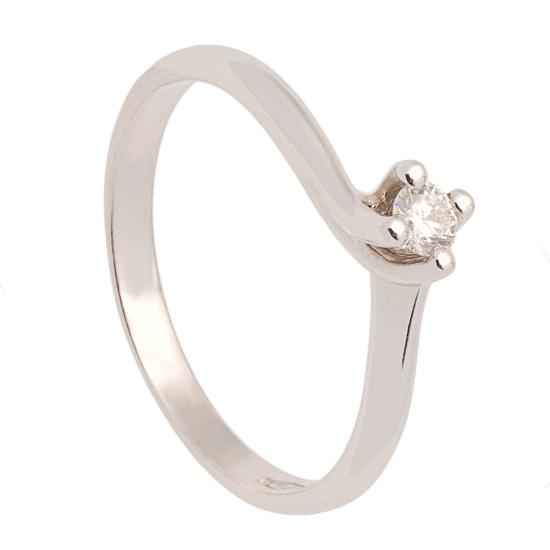 Solitario de oro blanco y diamante - 0089 - 1