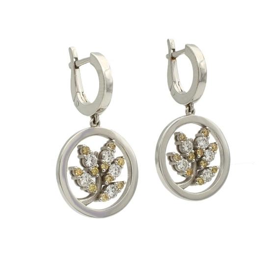 Pendientes de diamantes blancos y amarillos - 1