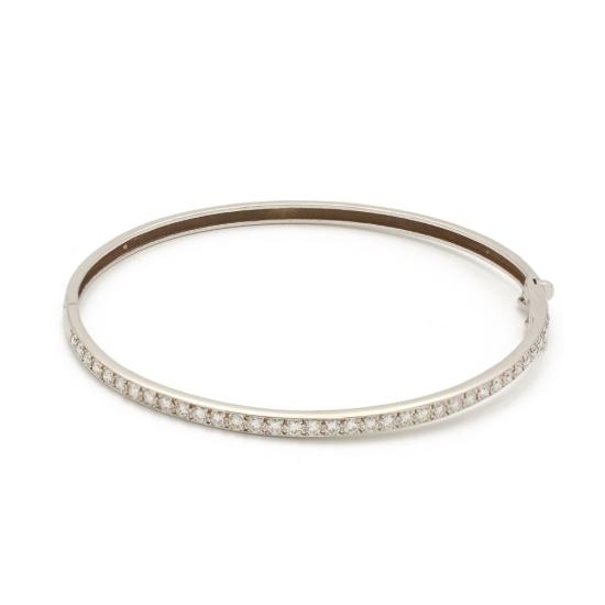 Pulsera rígida de oro blanco y diamantes - 1108 - 1