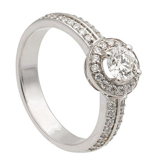 Sortija con rosetón de diamantes - 1