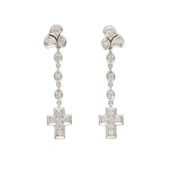 Pendientes largos con cruz de diamantes - 1117 - 1