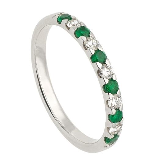 Media alianza con diamantes blancos y esmeraldas - 1121 - 1