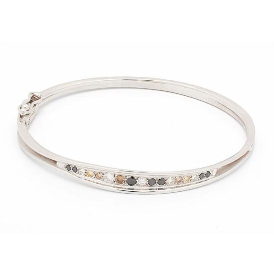 Pulsera rígida de oro blanco con diamantes multicolor - 1