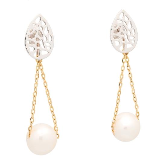 Pendientes de oro bicolor con perlas cultivadas - 1