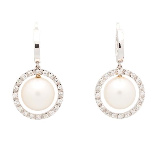 Pendientes de oro blanco, perlas cultivadas y diamantes - 1