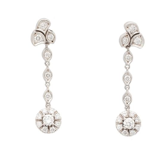 Pendientes de oro blanco y diamantes - 1112 - 1