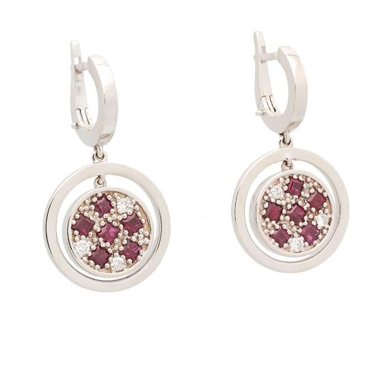 Pendientes de oro blanco, rubíes y diamantes - 0618 - 1
