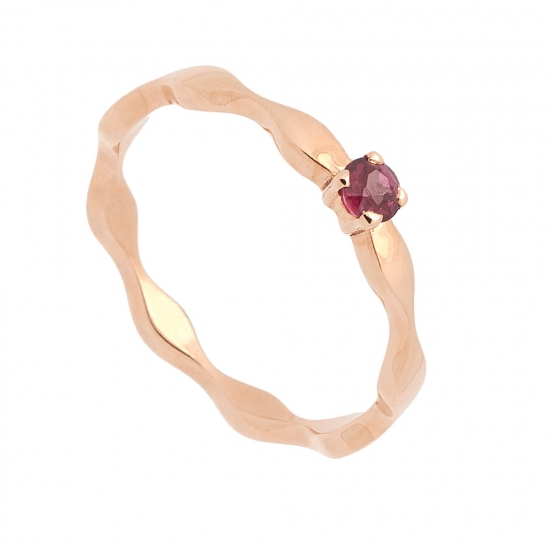 Sortija onda en oro rosa y rubí - 1