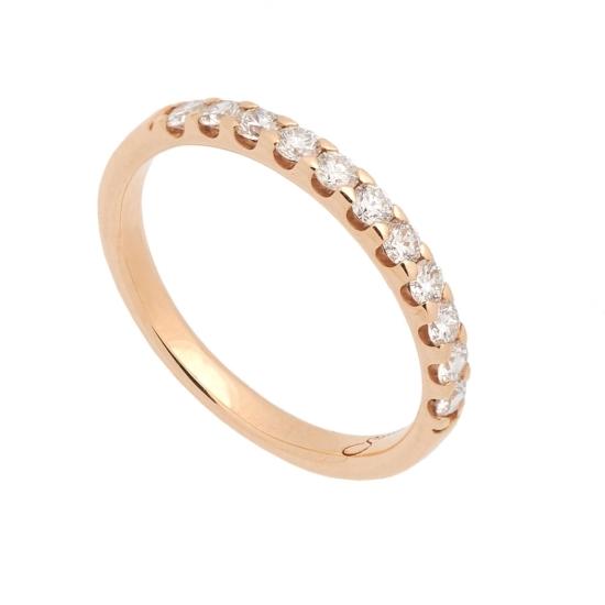 Media alianza fina de oro rosa y diamantes - 1090 - 1