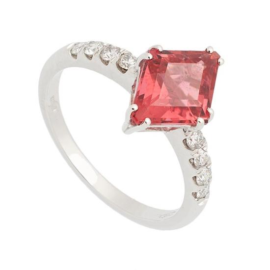 Sortija con Turmalina Roja y diamantes - 0442 - 1