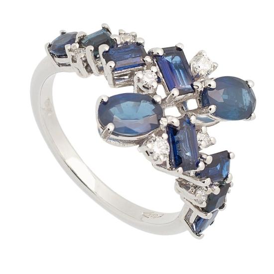 Sortija de Zafiros y Diamantes - 0449 - 1