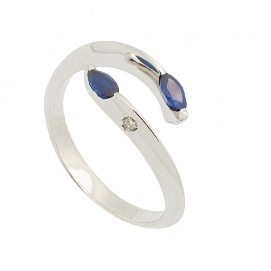 Sortija de Zafiros y Diamantes - 1243 - 1