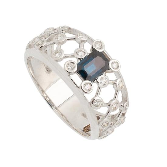 Sortija de Zafiro y Diamantes - 1237 - 1