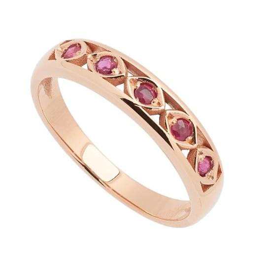 Sortija de oro rosa con rubíes - 1194 - 1
