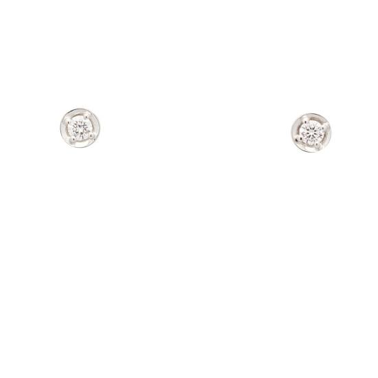 Pendientes redondos de oro blanco y diamantes - 1