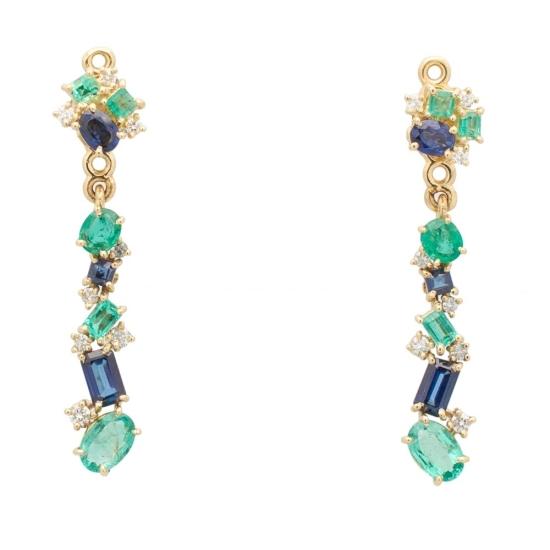 Pendientes desmontables con esmeraldas, zafiros y diamantes - 0453 - 1