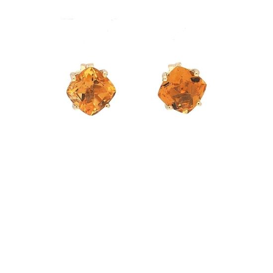 Pendientes cuadrados de oro amarillo y cuarzo citrino - 1