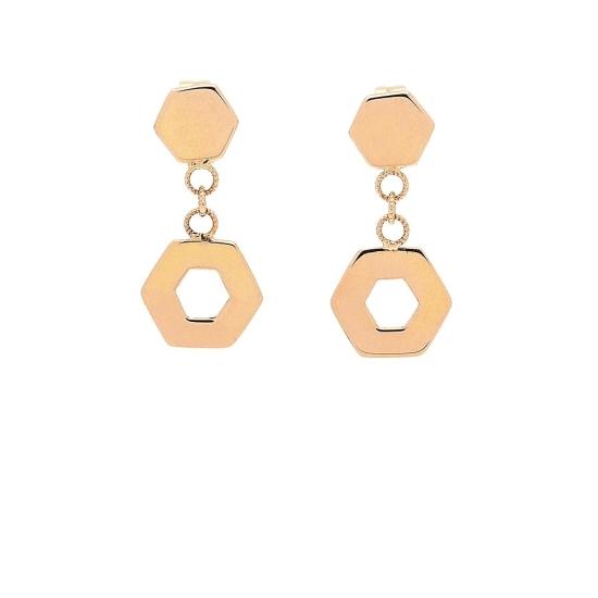 Pendientes de oro rosa y forma hexagonal - 1