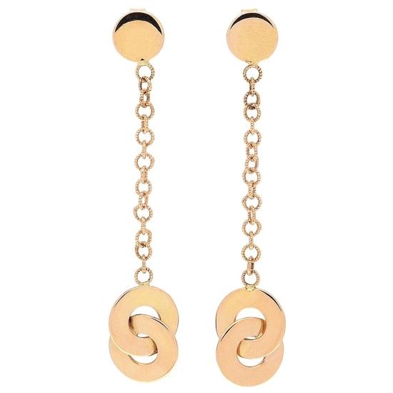 Pendientes largos de oro rosa con cadena - 1
