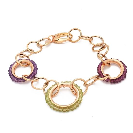 Pulsera de oro amarillo y anillas de piedras de color - 1