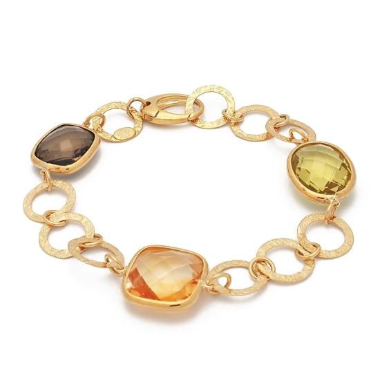 Pulsera de oro amarillo y piedras de color - 1