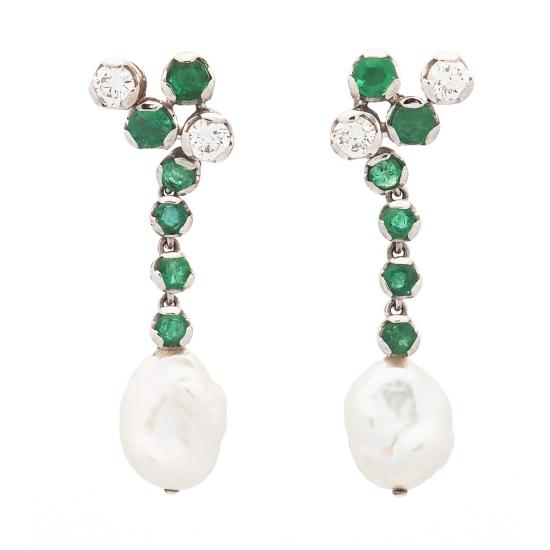 Pendientes de oro blanco, esmeraldas, diamantes y perlas - 1