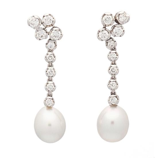 Pendientes de oro blanco, esmeraldas y perlas - 1