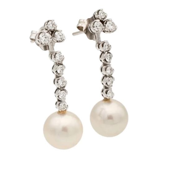 Pendientes largos de perlas y diamantes - 1