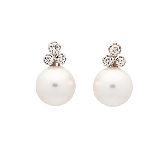 Pendientes de oro blanco y perlas - 1