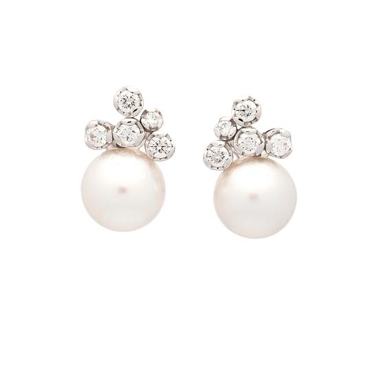 Pendientes de perlas y diamantes - 1