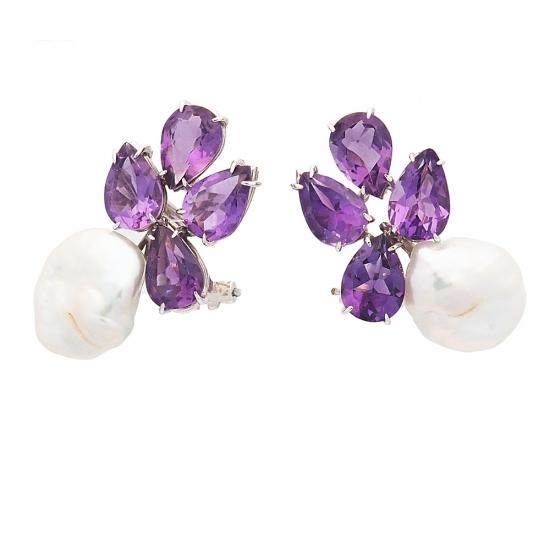 Pendientes de perlas y amatistas - 2