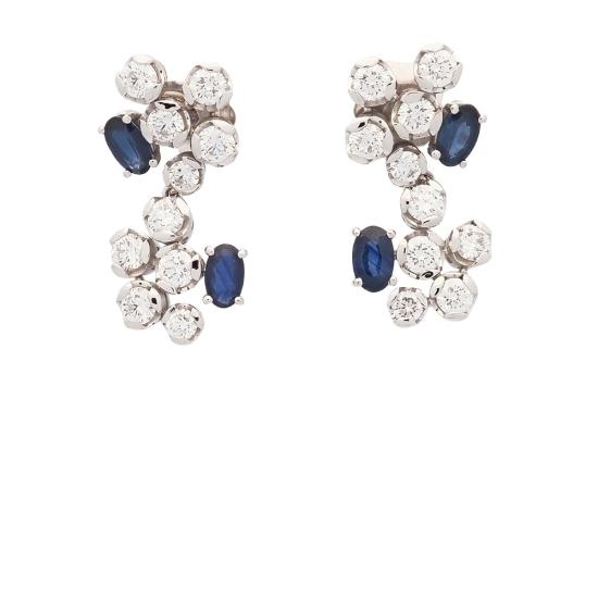 Pendientes de zafiros y diamantes - 1