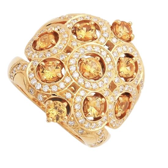 Sortija de zafiros amarillos y diamantes - 1