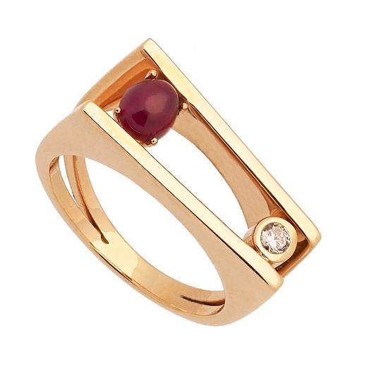 Sortija de oro amarillo con rubí y diamante - 1