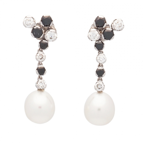Pendientes largos de diamantes y perlas australianas - 1