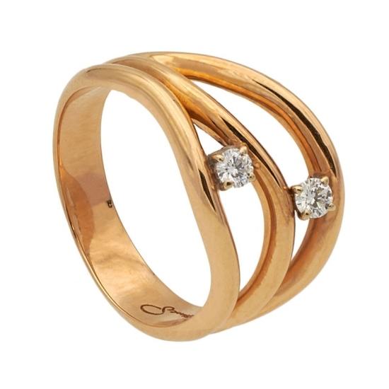 Sotija de oro rosa y dos diamantes - 1